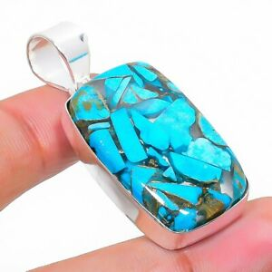 """Copper Blue Turquoise Gemstone 925 Sterling Silver Jewelry Pendant 1.77"""" g300"""