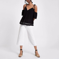 NEW RRP £28 River Island Black Bardot tassel tie top  / Cold Shoulder    (SS:30)