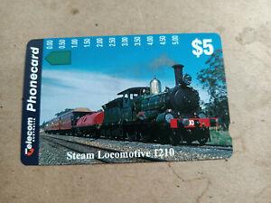 Mint $5 Steam Locomotive 1210 Phonecard Prefix 454