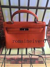 100% Authentic HERMES KELLY 28CM Togo Leather Bag Orange Silver
