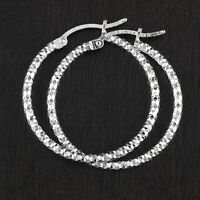Womens Solid Geniune 925 Sterling Silver Diamond-cut 2mm Hoop Earrings