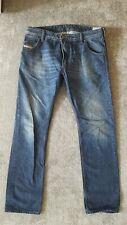Diesel Krooley W34 L32 Button Fly Navy Blue Denim Jeans 0823G slim carrot