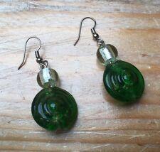 Pretty Green & White Glass Earrings/Pierced/Droplet/Dainty/Hippy/Boho