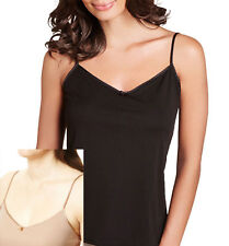 faMouS store Slinky Strappy 'V' Neck Cami Vest Camisole Top BLACK, NATURAL 10-22
