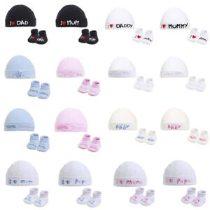 Newborn Baby Boys Girls Hat Bootee Gift Set Bag Booties 0-3 Months