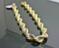 "Real 10K Yellow Gold Rope Bracelet 8mm, 7.5 "" Long, Miami Cuban, Franco, Link N"