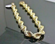 "Real 10K Yellow Gold Rope Bracelet 8mm, 7.5 "" Long, Miami Cuban, Franco, Link"