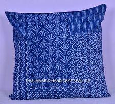Indigo Blue Floral Block Print Patchwork Cushion Pillow Cover Indian Throw Decor