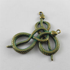 10 pcs Antiqued Copper Green Poisonous Snake Charms Pendant Crafts 57x22mm 52269