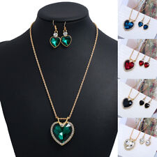 Womens Crystal Heart Necklace Earrings Bib Choker Chunky Pendant Chain Jewelry