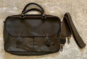 Barbour Waxed Cotton And Leather Olive Briefcase
