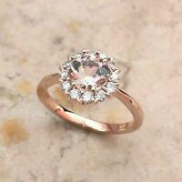 2ct Round Cut Peach Morganite Halo Floral Engagement Ring 14k Rose Gold Finish