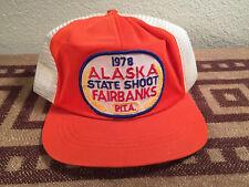 vintage 70's Alaska State Shoot Hat Cap Fairbanks PITA 1978 adjustable orange