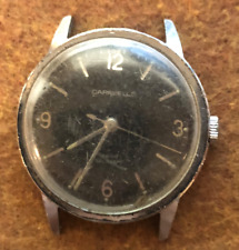 Vintage 1972 Men's Caravelle Watch Parts/Repair Silver Case Swiss Black Dial