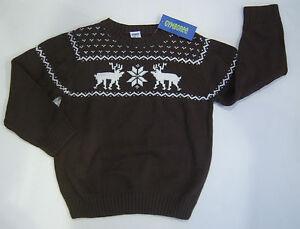 NWT Gymboree Mountain Lodge Size S 5-6 Brown Fair Isle Reindeer Nordic Sweater