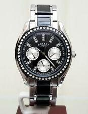 ROTARY Ladies Watch Black Ceramic Look Swarovski Set DAY & DATE RRP £160 Genuine