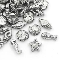 100 Underwater Sea Beads Acrylic Shell Seahorse Fish Silver Tone J24881W