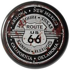 """Route 66"" 34cm Circular Metal Novelty Wall Sign For Man Cave Biker Garage Diner"