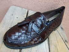 COLE HAAN Mens Shoes Soft Burgundy Woven Leather Italian Tassel Loafer Size 9.5M