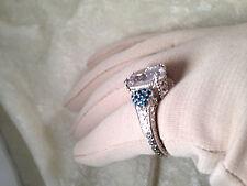 JUDITH RIPKA STERLING DIAMONIQUE & LONDON BLUE TOPAZ PAVE RING, SIZE 6 (M357-47)