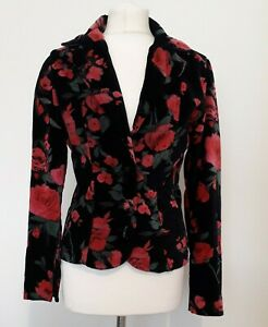 ANGIE Velvet Jacket Blazer Black Floral Rose Print Sz M
