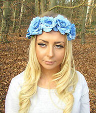Light Blue Rose Flower Headband Boho Festival Hair Band Crown Garland 2148
