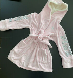 VICTORIA'S SECRET PINK PJ ROBE white fluffy SUPER WARM hooded silver sequined