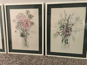 4 1970s Mary Lou Rich Goertzen Floral Botanical Prints Beautifully Framed Matted