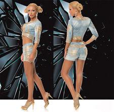 Ocassion 2-Teiler Jeansjacke Hotpants Hüfthose Jeans Hose Blazer Blau Gold XS-L