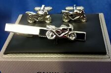 TIE BAR OR CLIP & CUFFLINKS SET - SUPERBIKE CAFE RACER MOTORCYCLE TBC29