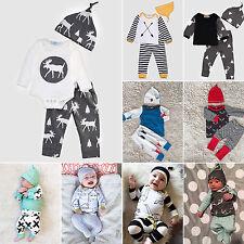 3PCS Newborn Baby Boys Girls Cute Tops Romper Pants Hat Outfits Clothes Set Xmas