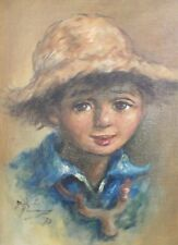 Vintage Original Signed Portrait of Country Boy with Straw Hat One of Pair Oil/C