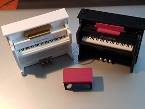 Vintage Sylvanian Families Calico Critters Black/White Upright Piano & 1 Stool