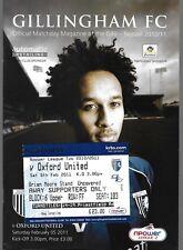 Football Programme plus Match Ticket>GILLINGHAM v OXFORD UNITED Feb 2011