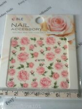 Nail tip Art stickers transfer Wrap water decals Pink Rose Flower Manicure M105