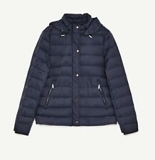 ❤️Zara Woman Ultra Lightweight Navy Puffer Jacket with Hoodie S Uk 8❤️