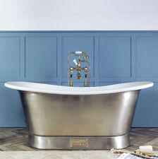Witt & Berg Copper Bateau Bathtub- Brushed Nickel Exterior/White Enamel Interior