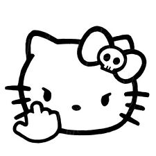 Decal Vinyl Truck Car Sticker - Hello Kitty F You Flip Off