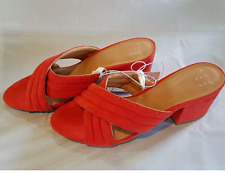 *CORAL MIRIAM SLIP ON PUMP MED HEEL MULE SHOE A NEW DAY CROSSBAND QUILT  SZ 11