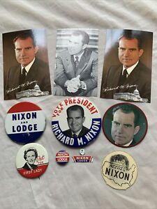 Lot 1960 Nixon/Lodge Campaign Buttons & Nixon Postcards