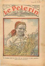 Portrait Agricultrice Fermière Farmer Gerbe de Blé Farine Pain Wheat Grain 1934