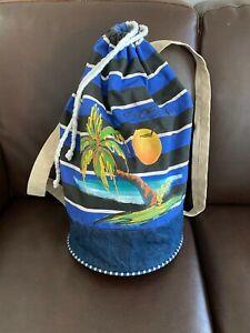 Backpack Beach Bag Drawstrings SOSUA Beach Palm Sunset Painting Graphic Striped