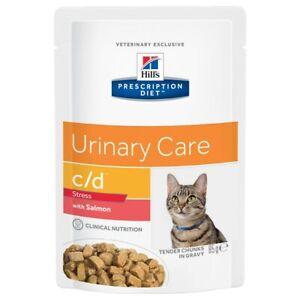 Hills Prescription Diet CD Urinary Stress Pouches for Cats 12x85G Salmon,Chicken