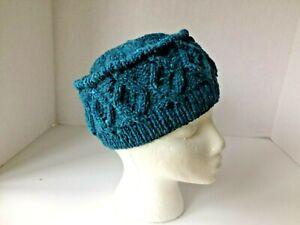 Irish Aran hat wool handknit cable traditional woman's cap gift Blue diamonds