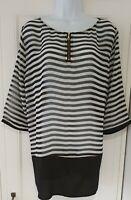 Womens Kaleidoscope Black White Stripe Zip Neck Chiffon Blouse Top Tunic 18 New.