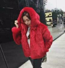 Fashion Ladies Thicken Fluffy Warm Parka Hooded Faux Fox Fur Coats Outwears Size