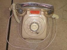 Retro Beige / Chrome telephone monophone rotery dial leich electric -Monogrammed