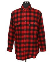 WOOLRICH Wool Nylon Buffalo Plaid Long Sleeve Shirt Men's Size Large Red/Black