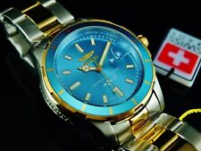 Invicta Mens 44mm Pro Diver SWISS MADE Ronda 515 Metallic Blue Dial 2Tone Watch