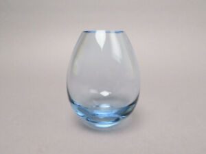 Holmegaard per Lütken Glas Vase Tropfenvase ca 11,5 cm hellblau 15387